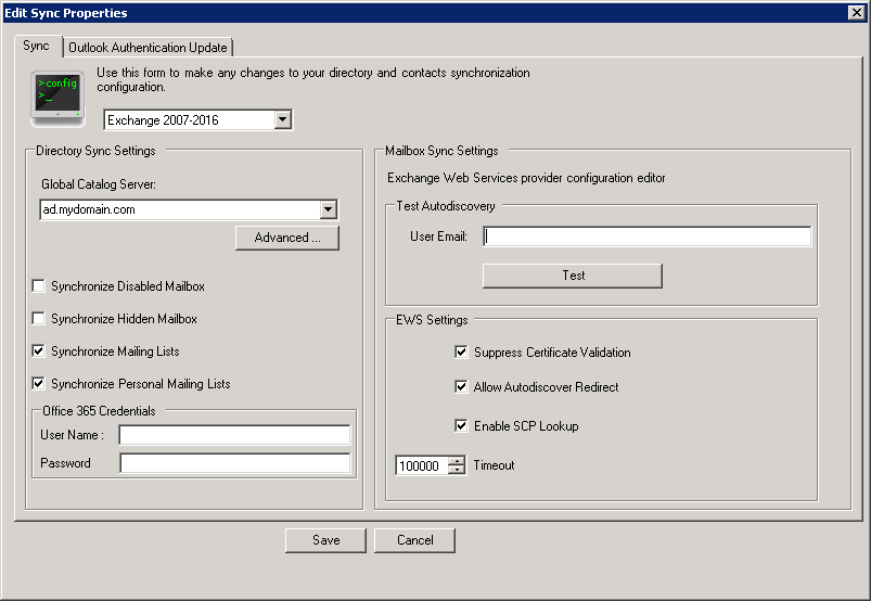 Configuring SyncManager